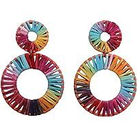 Happyyami Handgemaakte Dangle Oorbellen Weven Raffia Geometrische Decoratieve Ear Danglers Oordruppels Oorbellen voor…