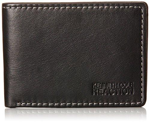 Kenneth Cole Reaction Men's Leather Front Pocket Billfold Wallet, Black, One (Kenneth Cole Bi Fold Wallet)