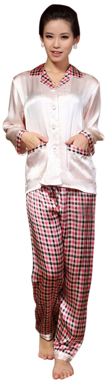 GPUFashion 100% Silk Pajama Set Womens Pink Lattice Style Large by GPUFashion