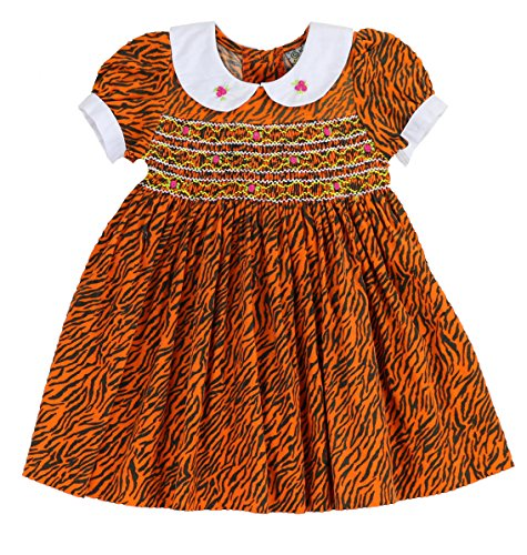 Infants and Toddlers Tiger Mini Corduroy Hand Smocked & Embroidered Dress in Orange -
