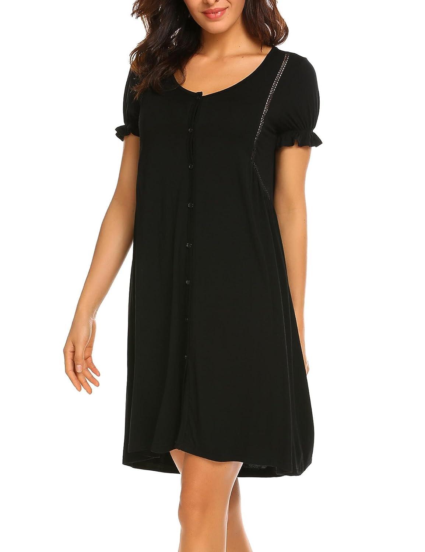 34badea32d Acecor Women s Scoopneck Short Sleeve Sleep Dress Loose Nightshirt Sleepwear  at Amazon Women s Clothing store