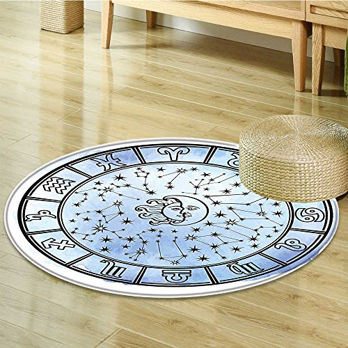 - Small round rug Carpet Sun and Astrology Circle Signs and Black Lilac door mat indoors Bathroom Mats Non Slip-Round 31