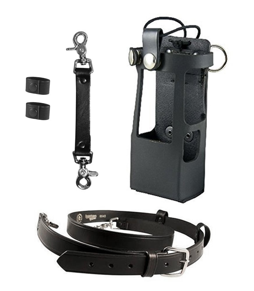 Boston Leather Bundle Three Items- Anti-Sway Strap for Radio Strap, Firefighter's Radio Strap / Belt, Firefighter's Radio Holder (for Motorola APX 6000XE/8000) by Boston Leather