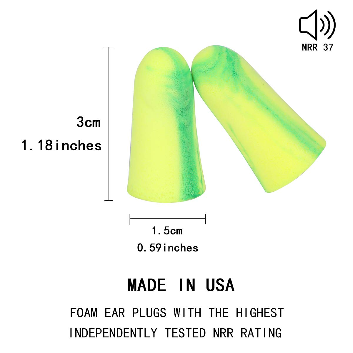Earplugs Musicians Concerts and Festivals etc Bojly 10 PCS Ear plugs Noise Cancelling max SNR 37db of Sponge High Density Anti Noise for Sleep Students