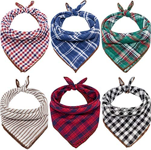 Dog Bandanas – 6PCS Birthday Gift Washable Green Black Brown Blue Red Square Plaid Printing Dog Bib Double Reversible Kerchief Scarf Adjustable Accessories for Small to Large Dog Puppy Cat