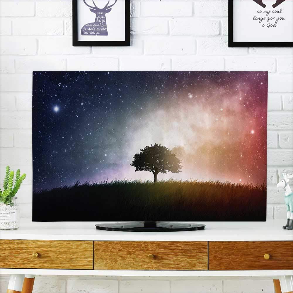 L-QN お持ちのテレビを保護 ダークギャラクシー 光る星とコズミックレイズ アストロミー 探検テーマ バスルーム テレビを保護 幅19 x 高さ30 インチ/テレビ 32インチ W35 x H55 INCH/TV 60