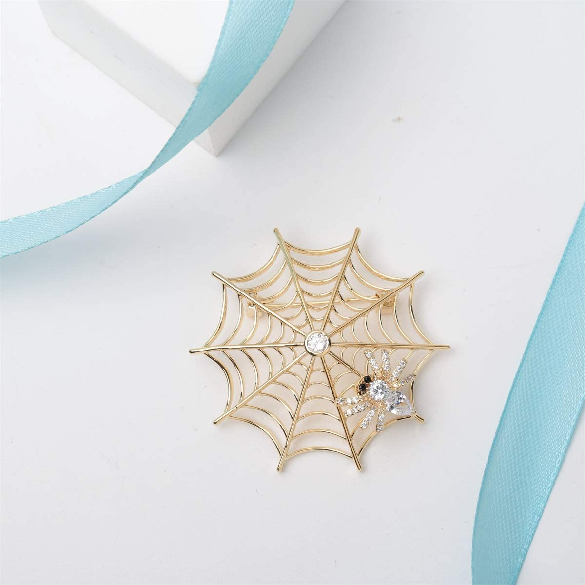 Hiddleston Victorian Style Cubic-Zirconia Spider Web Breast Brooch Pin Accessory Costume Halloween Party Jewelry Gift for Women Teen Girl