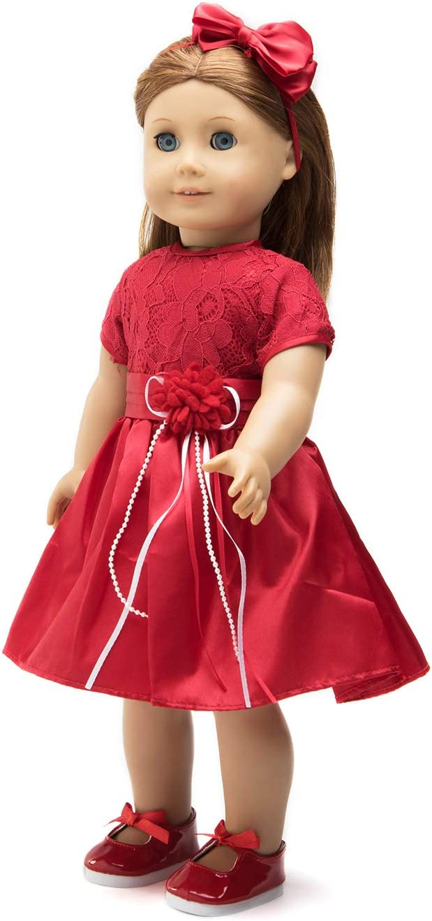 """18 Inch Doll Clothes (Red Lace Holiday Dress with Matching Red Dress Shoes and Headband) Fits 18"""" American Girl Dolls"""
