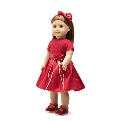 dbc54998c51 Image Unavailable. Image not available for. Color  18 Inch Doll Clothes (Red  Lace Holiday ...