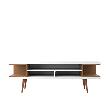 Manhattan Comfort Utopia Collection Mid Century Modern TV Stand With Open 3  Open Shelves And Two