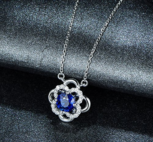 Solid 18k White gold Pendant,0.14ct SI-H Diamond pendant for necklace,0.55ct Round Natural Blue Sapphire,Pave set