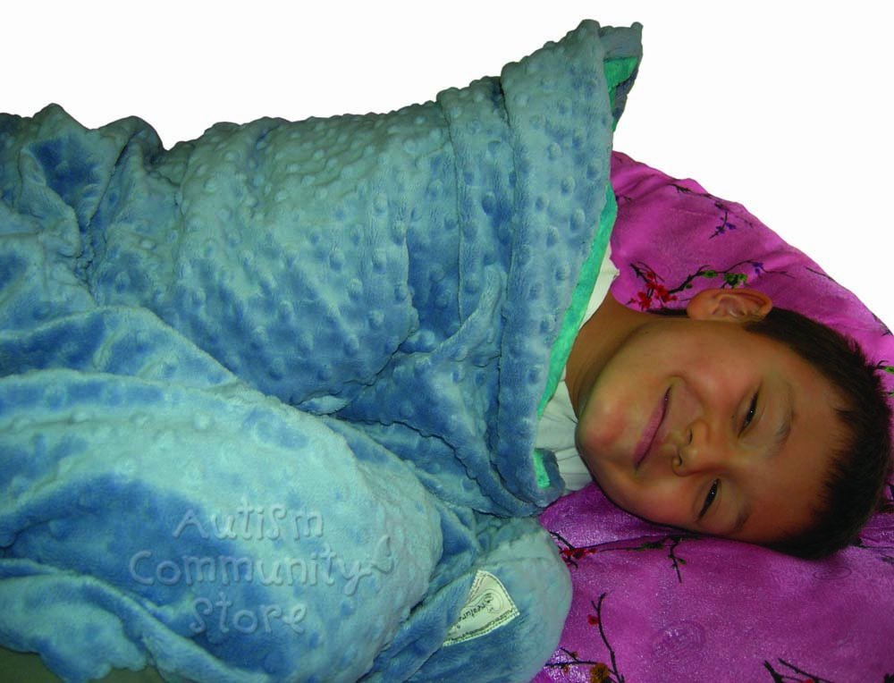 Creature Commforts Weighted Blanket - Medium 6 lbs 30'' x 40'' for kids - Removable cover, soft minky duvet, organic insert - Heavy sensory blanket made in USA - Blue denim & Pink Raspberry