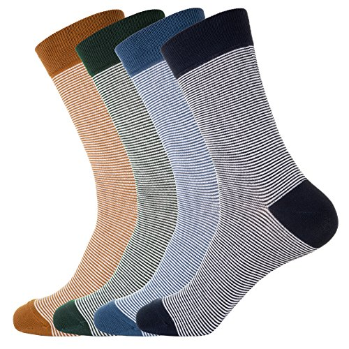 - KONY 4 Pack Men's Thin Combed Cotton Dress Crew Socks - Classic Colorful Stripe Patterned Business Socks (Stripe 4-4 Pairs)