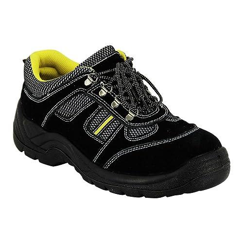Zapatilla de seguridad baja negra y amarilla ISO20345-S2 de nubuck y tela con puntera de material compuesto: Amazon.es: Zapatos y complementos