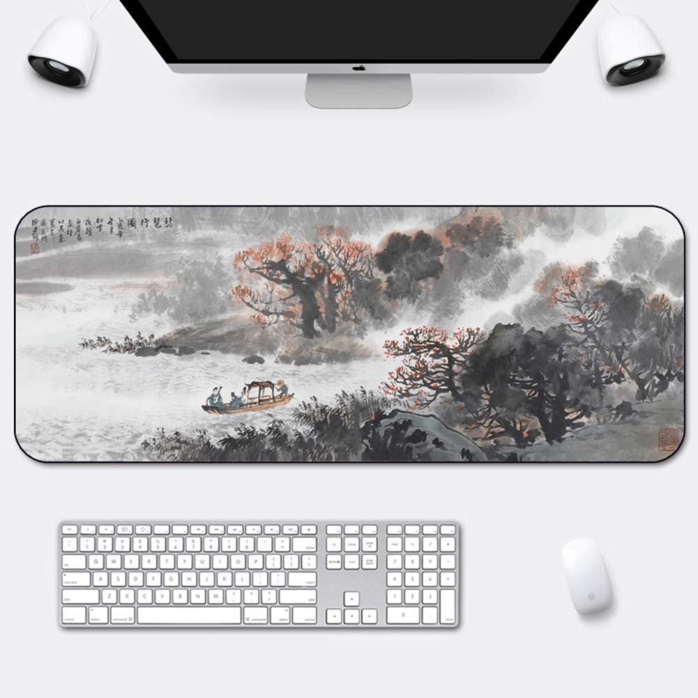 Chinese Style Gaming Mouse Pad,Large Mouse Pad with Stitched Edge Not-Slip Rubber Base Durable,Comfortable Pain Relief-f 1000x500mm