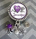 Personalized RN Nurse ID Badge Reel, heart Nurse Gift, LPN BSN Custom RN Retractable ID holder, Purple heart Nurse Name