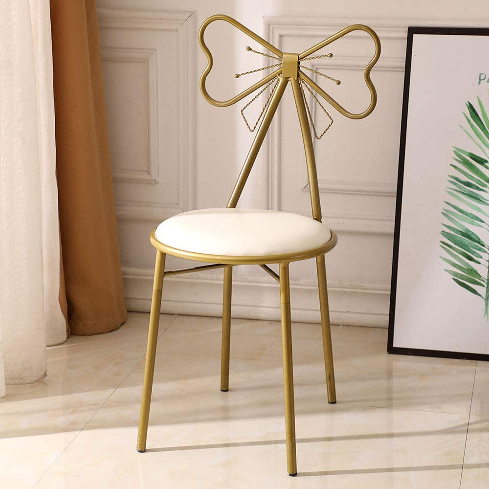 Modern Vanity Dressing Table Bow Shaped Vanity Chair,Iron Makeup Leisure Chair,Bedroom Princess Chair,Girls Ladies Creative Makeup Stool
