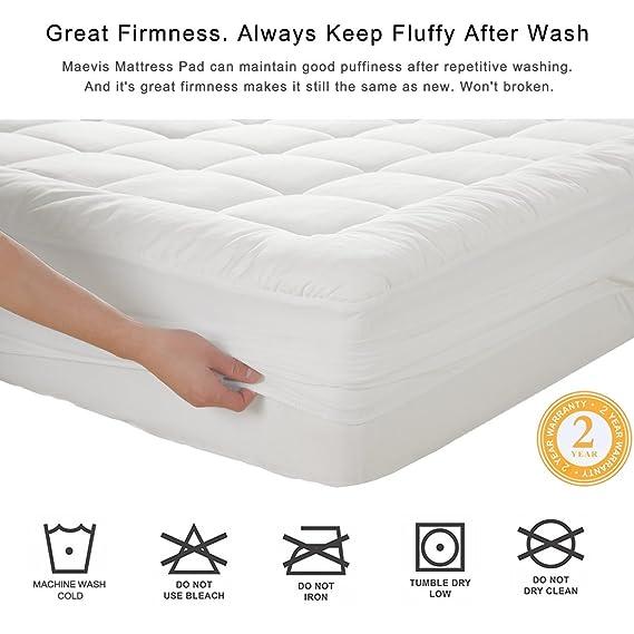 Maevis - Funda para colchón de 100 % algodón de 300 hilos con lateral adaptable de 20 a 53 cm - Cubierta blanca hiperexpandida para colchón: Amazon.es: ...