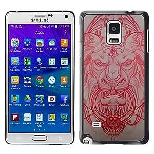 Lion Architecture médiévale Sculpture Rouge - Metal de aluminio y de plástico duro Caja del teléfono - Negro - Samsung Galaxy Note 4