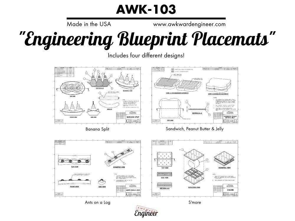 Amazon engineering blueprint placemat set dining entertaining malvernweather Images