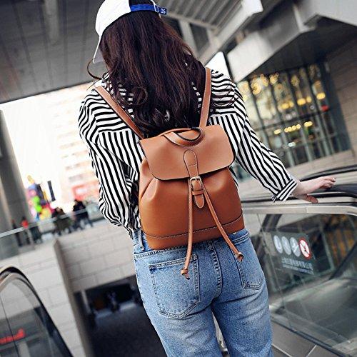 College Afco Rucksack Bag Leather Travel Backpacks Womens Student Brown Shoulder Korean Small FFqr57