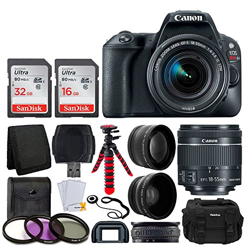 Canon EOS Rebel SL2 Digital SLR Camera + EF-S 18-55mm f/4-5.6 is STM Lens + Wide Angle & Telephoto Lens + 48GB Memory Card + Flexible Tripod + DC59 Large Gadget Bag – Complete Accessory Bundle