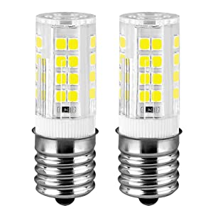 KINDEEP Ceramic E17 LED Bulb for Microwave Oven Appliance, 40W Halogen Bulb Equivalent, Daylight White 6000K, Pack of 2