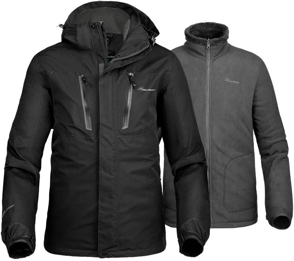 OutdoorMaster Men's 3 in 1 Ski Jacket Winter Jacket Set with Fleece Liner Jacket & Hooded Waterproof Shell for Men