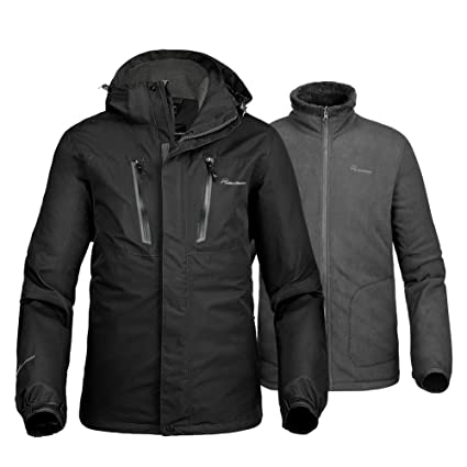 a66017023e27 OutdoorMaster Men's 3-in-1 Ski Jacket - Winter Jacket Set with Fleece Liner