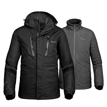 OutdoorMaster Mens 3-in-1 Ski Jacket - Winter Jacket Set with Fleece Liner Jacket & Hooded Waterproof Shell - for Men