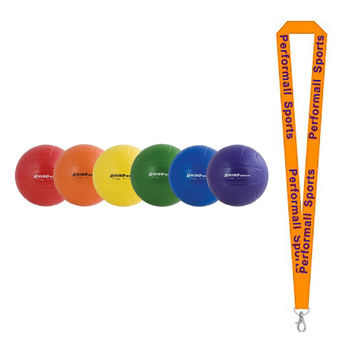 Champion Sports Rhino Skin Ball Set Assorted (Set of 6) Bundle with 1 Performall Lanyard RSVBSET-1P