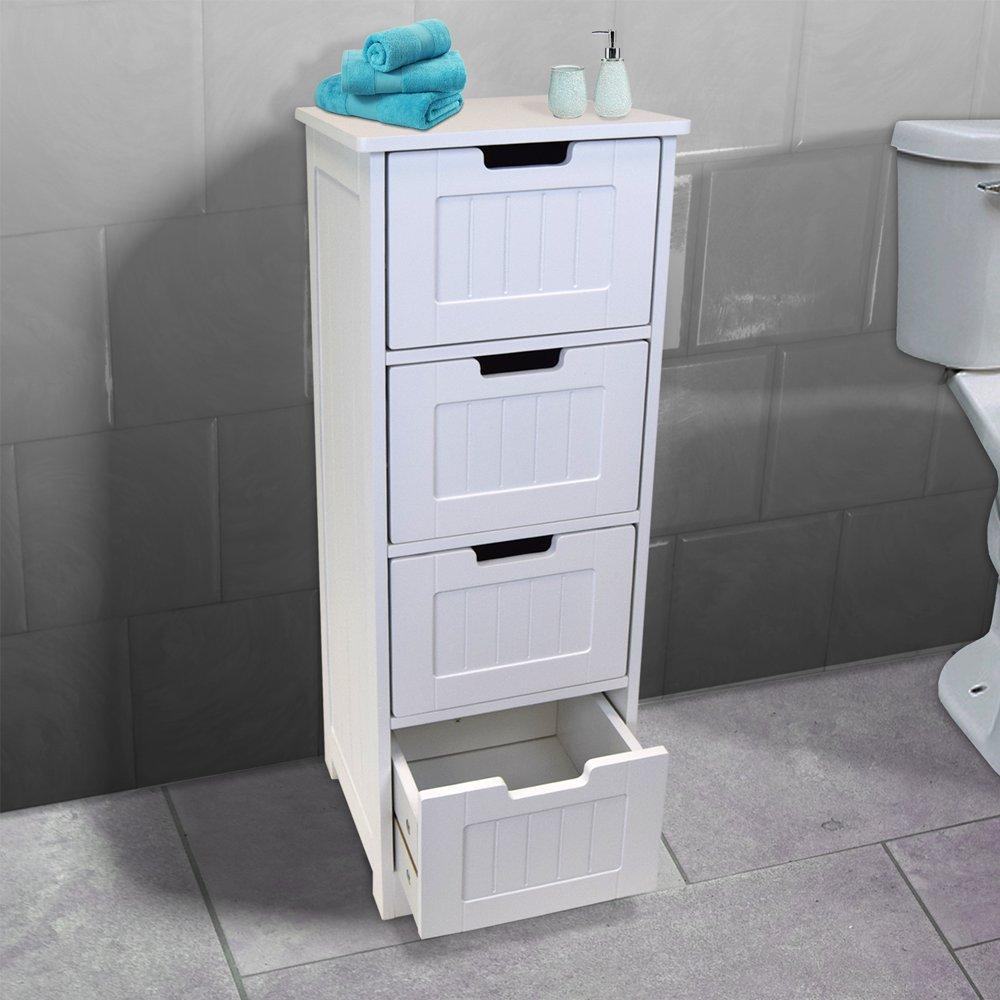 AVC Designs White Bathroom Bedroom Utility Playroom Storage Cabinet Cupboard Tall (4 Drawer)