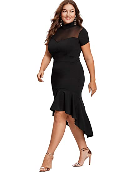 Women's Plus Size Mesh Frill Ruffle Round Neck Pencil Party Dress