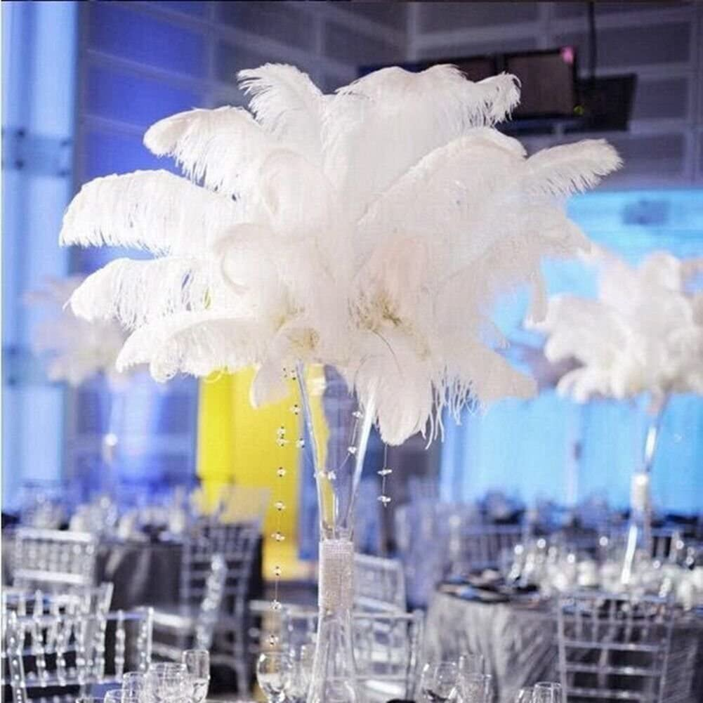 Shekyeon Black 18-20inch 45-50cm Ostrich Feather Wedding Table Decoration Party Festival Supplies Pack of 5