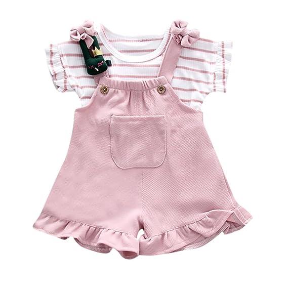 70730282bb4e2 Baby strampler Hirolan Mädchen Streifen Kurzarm-Shirt + Hosenträger Sommer  Shorts Lätzchen Set Kinder Taufbekleidung Krabbelhose Walkoverall ...
