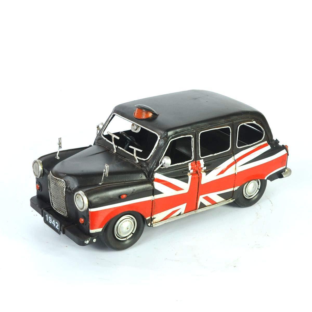 Modelo negro del taxi de Austin, 1966 hojalata hecho a mano arte retro del hierro hogar del coche de la decoración de la decoración del arreglo de la fotografía los apoyos 32  13  12.5 cm