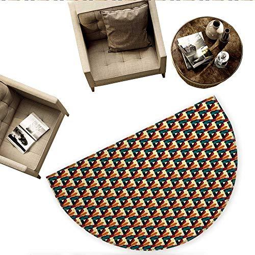(Abstract Half Round Door mats Retro Polygonal Composition with Vivid Mesh Futuristic Design Technology Theme Bathroom Mat H 55.1