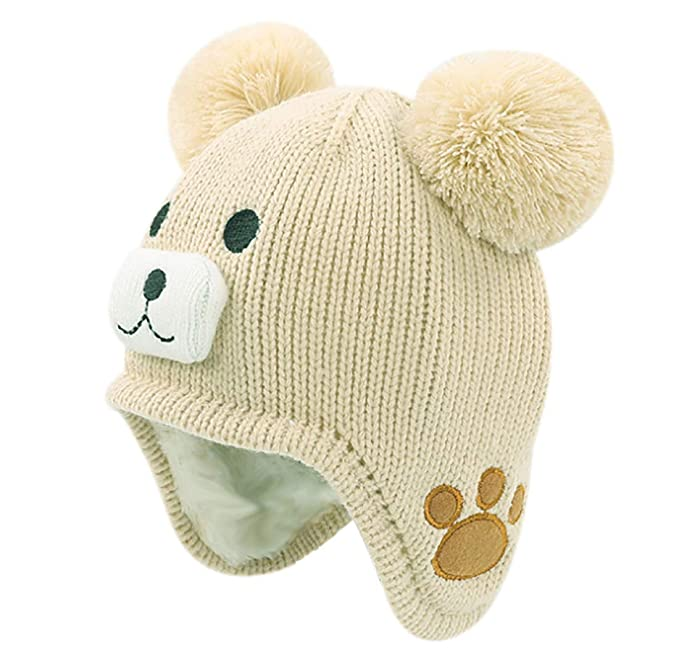 b3462bc0 RARITY-US Kids Toddlers Winter Ear Flap Beanie Hat Cute Bear Warm Pom Pom  Knit