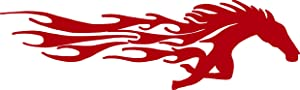 hBARSCI Horse with Flames Vinyl Decal - 5 Inches - for Cars, Trucks, Windows, Laptops, Tablets, Outdoor-Grade 2.5mil Thick Vinyl - Red