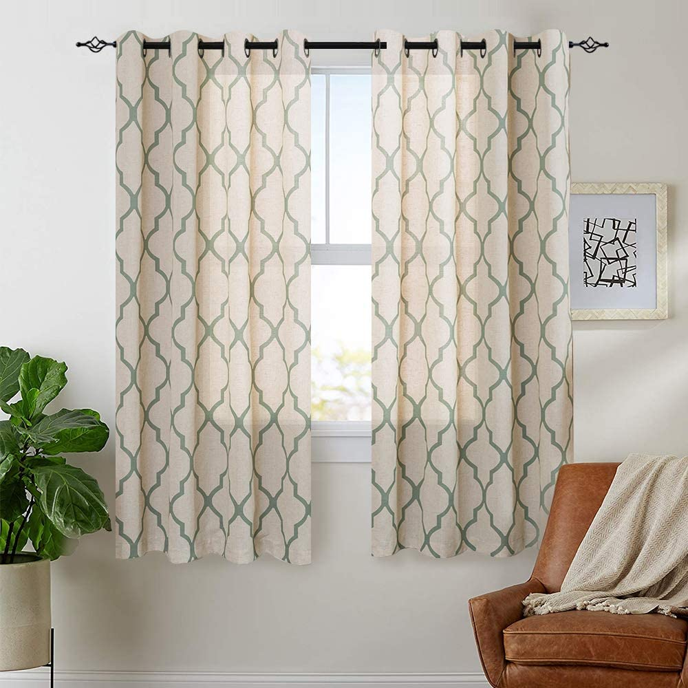 "jinchan Moroccan Tile Print Curtains for Living Room Quatrefoil Flax Linen Blend Textured Geometry Lattice Grommet Window Treatment Set for Bedroom 50"" W x 54"" L 2 Panels Sage"