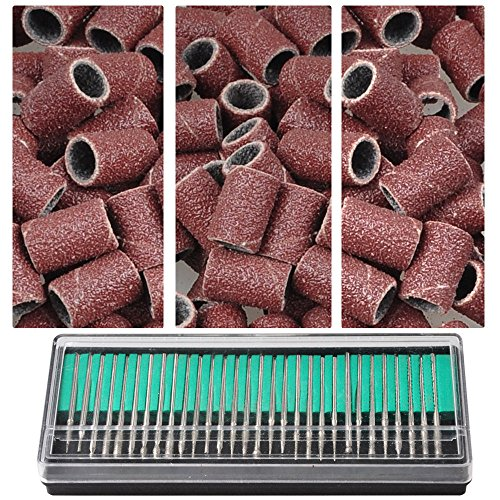 """300x Nail Drill Sanding Bands 80"""" 120"""" 180"""" & 30x Bits Nail Drill File Use Art"""
