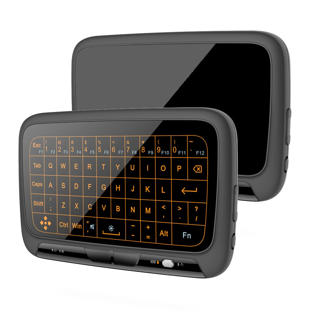 Mitid Mini Keyboard Mouse Touchpad Remote Combos 2.4Ghz Wireless Extra Large Touch Area Control for Android TV Box, Google TV Box, IPTV, Smart TV and More (Backlit Keyboard Touchpad)