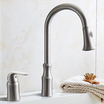 KES BRASS Pulldown Kitchen Faucet Brushed Nickel Single Handle 2 ...