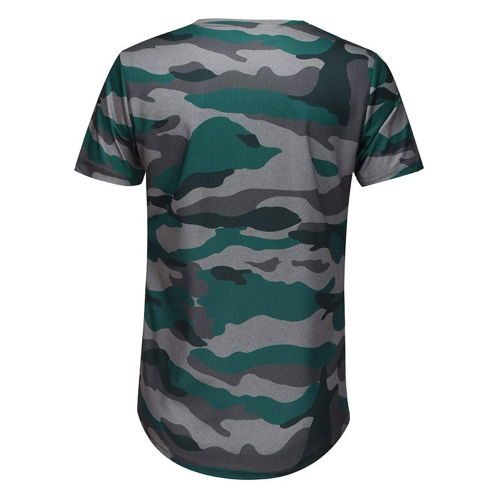 Mens Camo Flag Print Fitness Round Neck Slim Fit Shirt Short Sleeve Muscle Tops