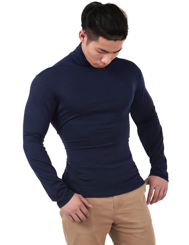 bosbary Mens Basic Turtleneck Thermal Long Sleeve T-Shirt Sweatshirt Cozy Pullover Tops