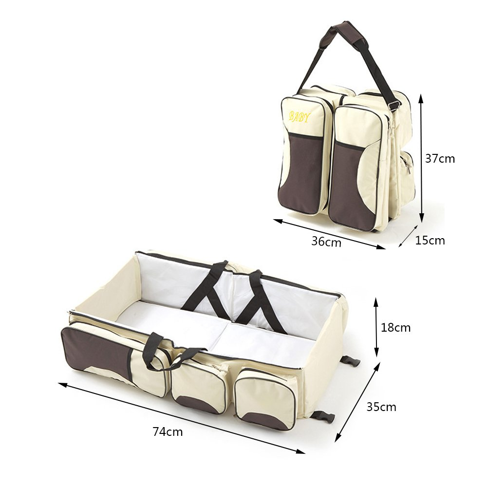 Yoolove 3 in 1 Portable Diaper Bag,Travel Bed,Travel Bassinet,Foldable Changing Station,Baby Travel Crib with Storage Pockets (creamy-white) by Yoolove (Image #2)
