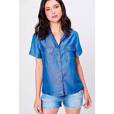 f9dac3572e Camisa Jeans de Manga Curta Feminina Tam: PP/Cor: BLUE: Amazon.com ...