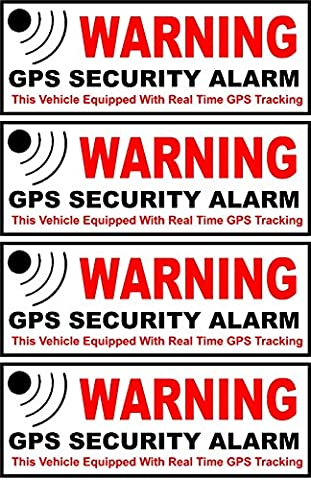 4 Pc Superb Fashionable Inside Adhesive Warning GPS Security Alarm Sticker Signs Anti-Theft Car Decal Surveillance Size 4.5