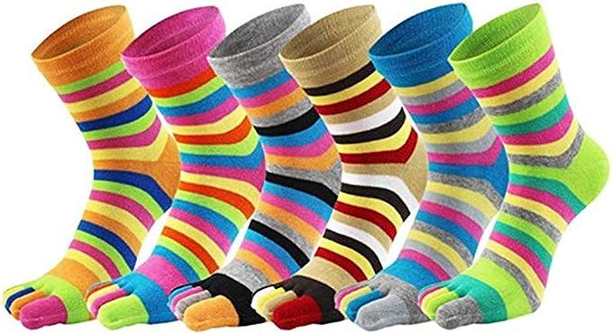 wyhweilong Cinco calcetines del dedo del pie de los hombres Women100% algodón regalos de boda de la raya del arco iris calcetines de la alfombra (una talla 5~6 pares) (escriba dos): Amazon.es: