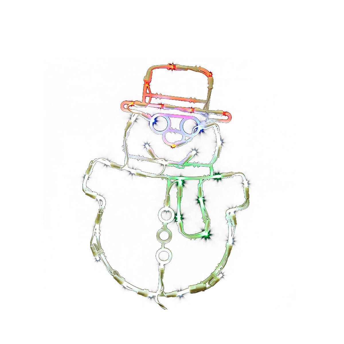 Vickerman Lighted LED Smiling Snowman Christmas Window Silhouette Decoration, 17''